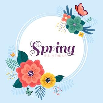 平らな春の花のフレーム