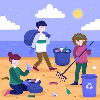 イラストのビーチを一緒に掃除する人々