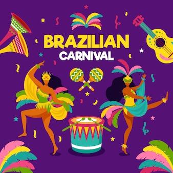 Плоский бразильский карнавал с танцорами и музыкой