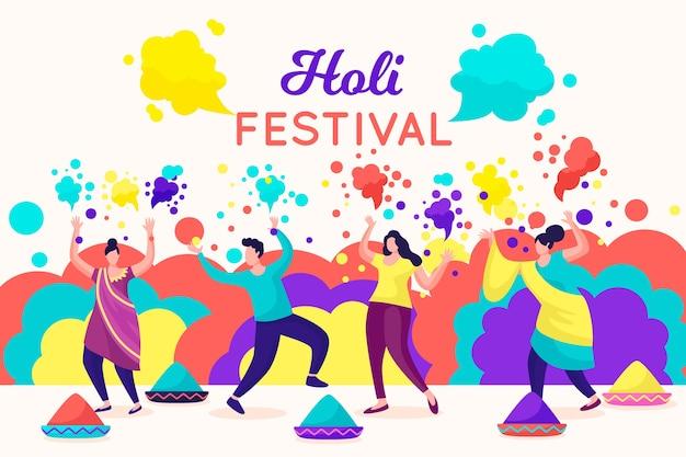 ホーリー祭をペイントで祝う人々