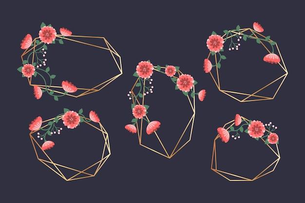 赤い花の結婚式のフレーム
