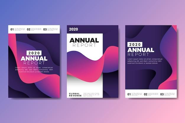 鮮やかな色の紫と黒の年次報告書テンプレート