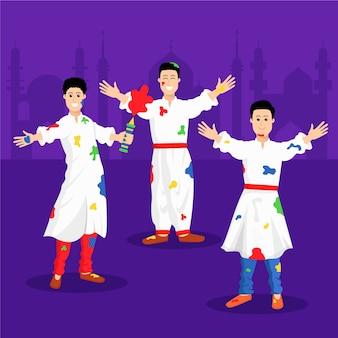 Люди в белой форме и пятна краски празднуют праздник холи
