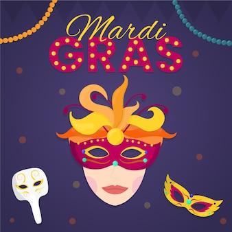 フラットデザインのマルディグラの女性がマスクを着用