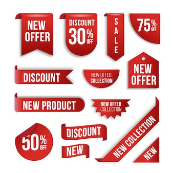 鮮やかな赤の現実的な販売ラベルコレクション