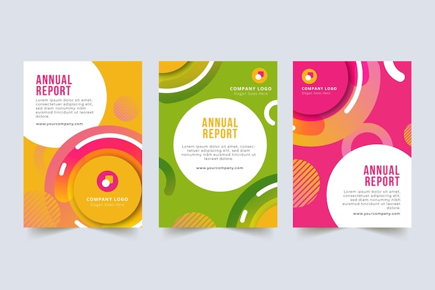 鮮やかなキャンディー色の年次報告書テンプレート