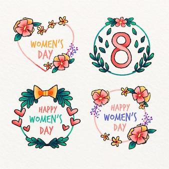 水彩の女性の日ラベルコレクション
