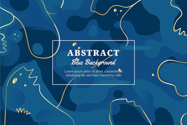 金色のラインと抽象的な古典的な青い背景