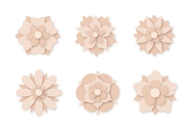 Коллекция весенних цветов в бумажном стиле