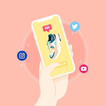 Иллюстрированная концепция мобильного телефона в социальных сетях