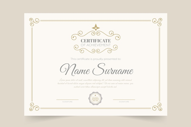 Шаблон сертификата элегантный и дипломный стиль