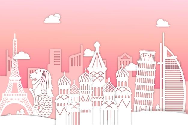 ピンクとホワイトペーパースタイルのランドマークスカイライン