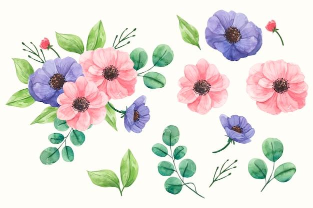 Акварель весенняя цветочная коллекция