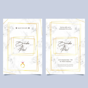 黄金の詳細とエレガントな大理石の結婚式の招待状のテンプレート