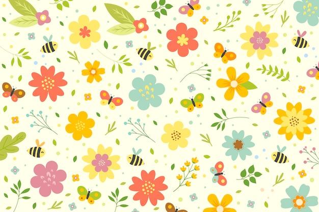 Плоский красочный весенний фон