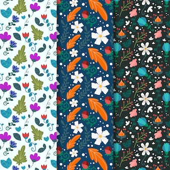 Различные цветы и листья весной бесшовные модели