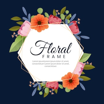 フラットなデザインの春のカラフルな花のフレーム