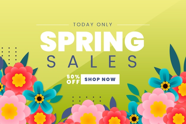 Плоский дизайн весенний магазин продаж сейчас
