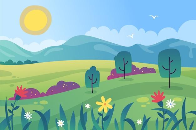 カラフルなグラデーション春の風景