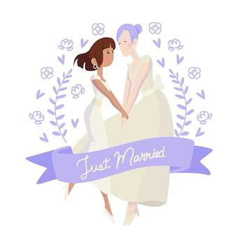 手描きの花の結婚式のカップル