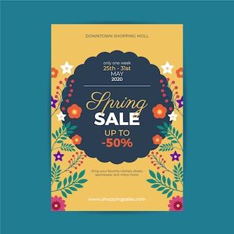 Красочный весенний распродажа флаер шаблон