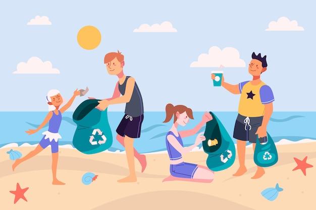 ごみのビーチを掃除する人々