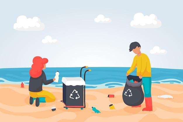 破片のビーチを掃除する人々