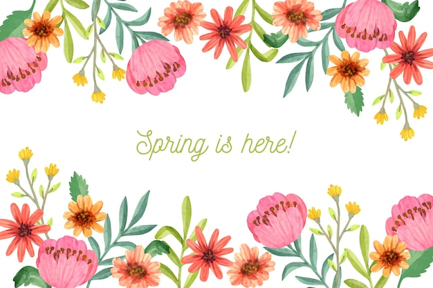 色とりどりの花で水彩春の背景