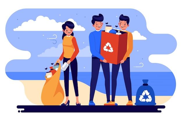 ゴミのビーチを清掃する人々