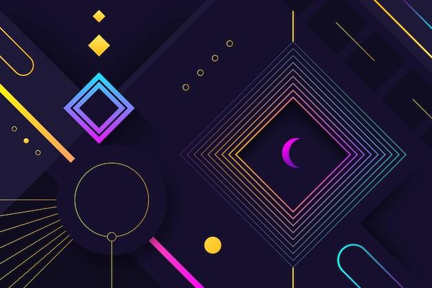 暗い背景にグラデーションの幾何学的な紫色の図形