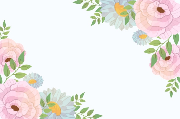 パステルカラーの花の壁紙