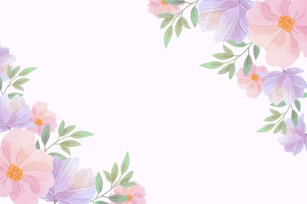 コピースペースでパステルカラーの水彩画の花の背景