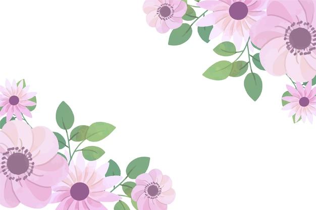 コピースペースとパステルカラーの水彩画の花の壁紙