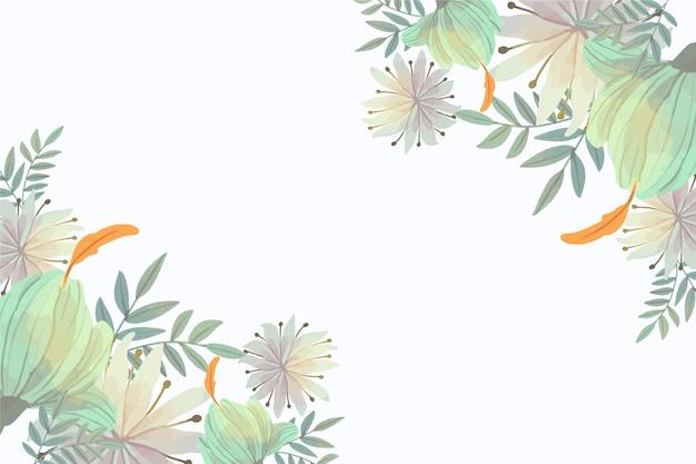 コピースペースとパステル調の花の壁紙