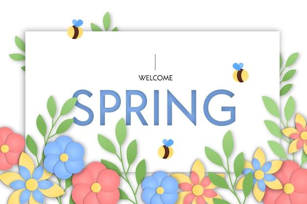 Весенний фон в стиле красочной бумаги