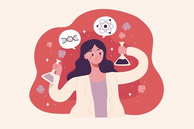 カラフルな女性科学者の図