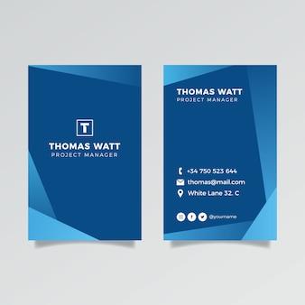 縦型の古典的な青い会社カード