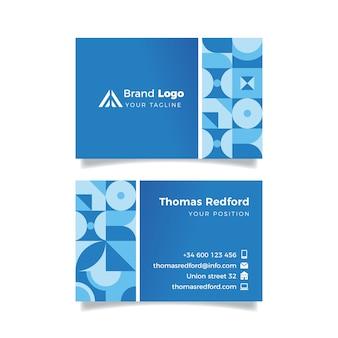 水平の古典的な青い会社カードテンプレート