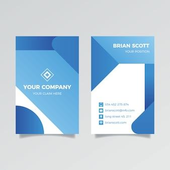 垂直の古典的な青い会社カードテンプレート