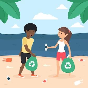 イラストの若い男性と女性がビーチを掃除