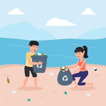 イラストの男性と女性が一緒にビーチを掃除