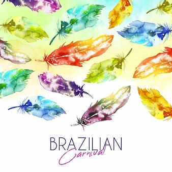 水彩ブラジルカーニバル羽