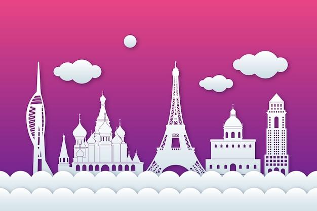 紙のスタイルと紫のグラデーション空のランドマークスカイライン