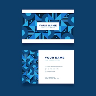 ブルーの色調で抽象的なビジネスアイデンティティカード