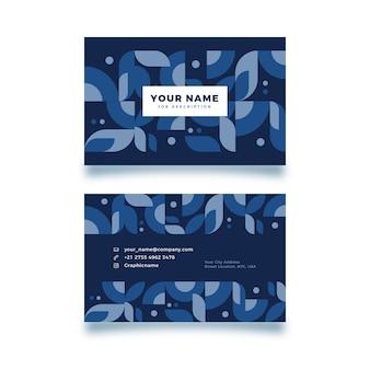濃い青の形の名刺テンプレート