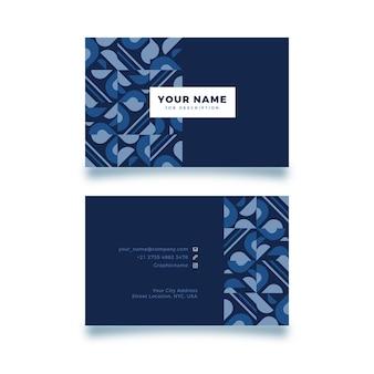 コピースペースと青い図形名刺テンプレート