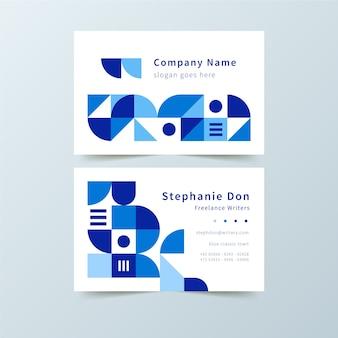 青い図形テンプレートを持つ古典的な会社のカード