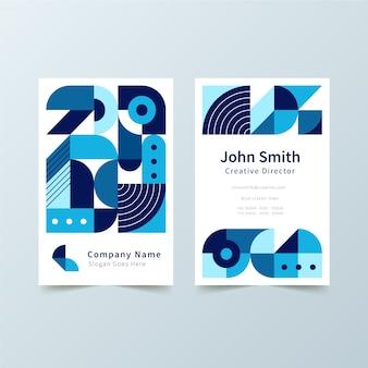 青い図形テンプレートと抽象的な会社カード