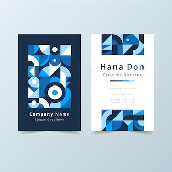 青い図形テンプレートで抽象的なビジネスカード