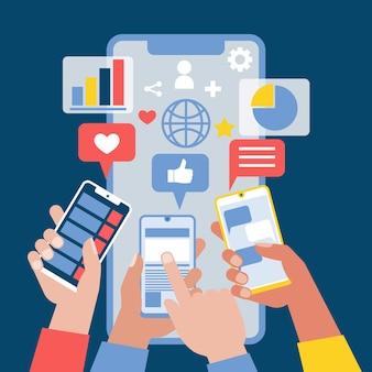 Социальные медиа люди, имеющие телефоны маркетинговой концепции